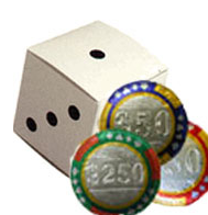 10-pc Casino Chip Dice Box - Click Image to Close