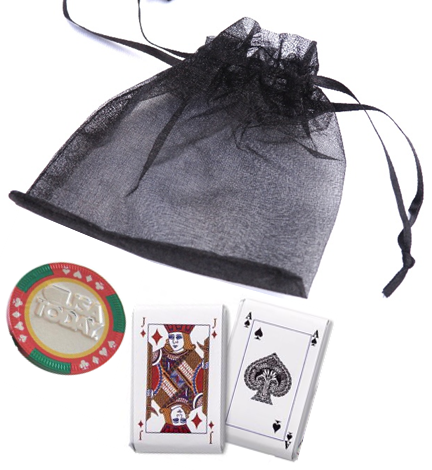 3pc. Playing Cards & Casino Chip Organza Bag