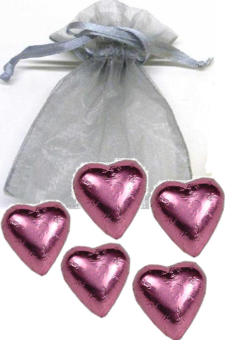 5-pc Heart Organza Bag - Click Image to Close