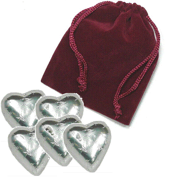 5-pc Heart Velvet Bag - Click Image to Close