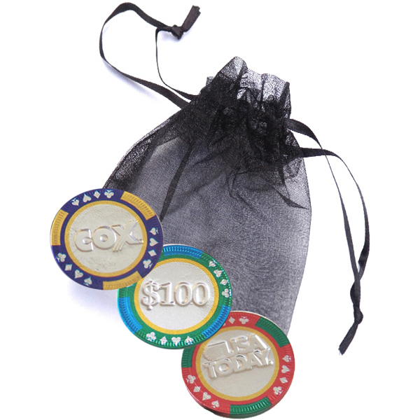 3-pc Casino Chip Organza Bag