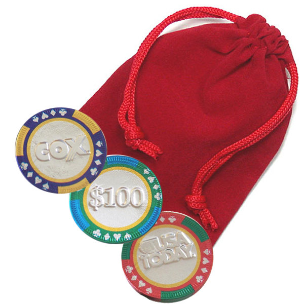 3-pc Casino Chip Velvet Bag