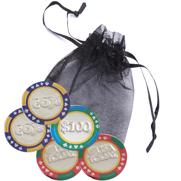 5-pc Casino Chip Organza Bag
