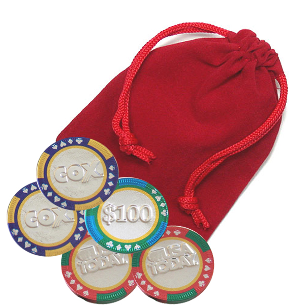 5-pc Casino Chip Velvet Bag