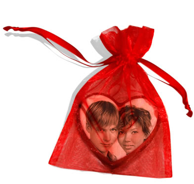 Chocolate Image Heart in Organza Bag