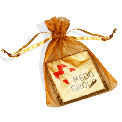 Chocolate Image Square in Organza Bag - Click Image to Close