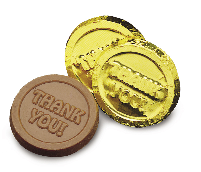 "Gold ""Thank you"" Coin(Case of 50 Bars)"