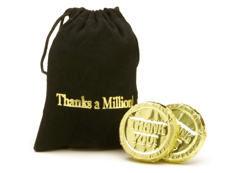 "10-pc ""Thanks a million"" Velvet bag(Case of 50 Bars) - Click Image to Close"