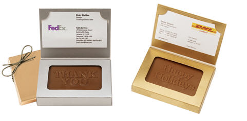 Chocolate Business Card with Stock Message
