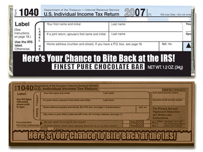 IRS 1040 Milk Chocolate 2007(Case of 50 Bars) - Click Image to Close