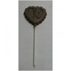 Chocolate Heart on a Stick with Cupid - Click Image to Close