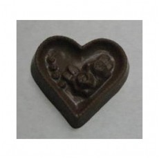 Chocolate Heart Large with Rose - Click Image to Close