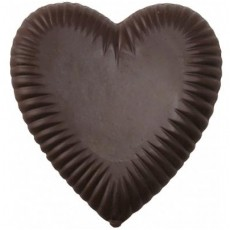 Chocolate Heart Large Pleated on a Stick - Click Image to Close